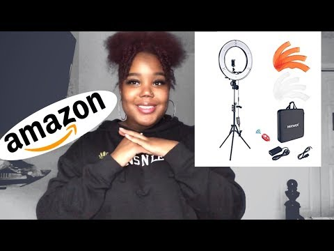 18'' NEEWER RING LIGHT UNBOXING/ASSEMBLY , & REVIEW || 2019 Aleah Grimshaw