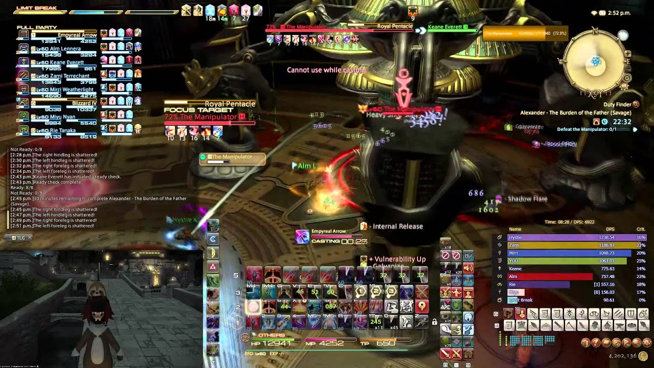 [FFXIV] Tonberry [LVN] Off Peak A4 Savage Clear , Server First (World 7th)  Bard pov