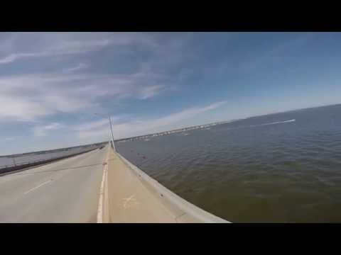 Crossing The Route 37 Bridge From Seaside to Toms River New Jersey on a Bike