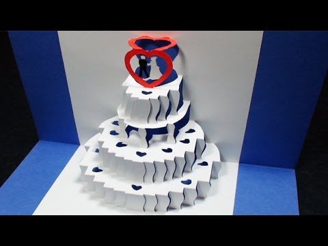 Birthday Cake Outline Printable ~ How to make a wedding cake pop up card free template kirigami 3d