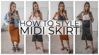 HOW TO STYLE A MIDI SKIRT | LOOKBOOK + OUTFIT IDEAS | #howtostyle #styletip