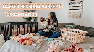 MASTER BEDROOM NURSERY ORGANIZATION + BEDSIDE SET UP FOR NEWBORN