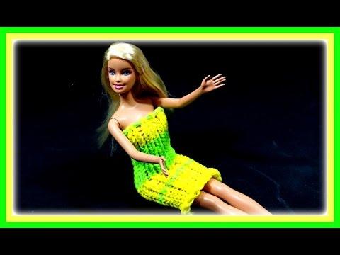 Barbie Kleid selber machen - Loom Bands Puppenkleid Kleidung ...