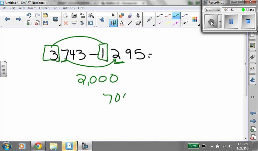 math subtraction front end estimation with adjustment YouTube – Front End Estimation Worksheets