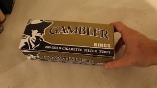 UNBOXiNG REViEW OF GAMBLER KiNGS 200 GLOD CiGARETTE FiLTER TUBES.