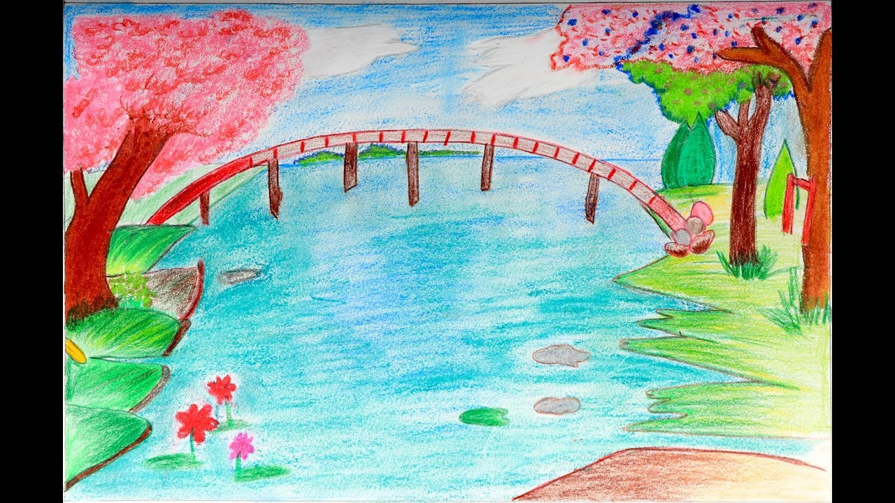 How to draw a scenery of spring season easy drawing for Easy spring pictures to draw