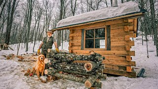 Sleeping Loft in the Offgrid Tiny House, Mushroom Log Cabin in the Woods