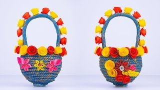 How To Make A Basket #using Rope & Paper