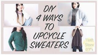 THRIFT FLIP ✂️ Refashion DIY 4 Ways To UPCYCLE Sweaters / 옷리폼 / 簡単リメイクㅣmadebyaya