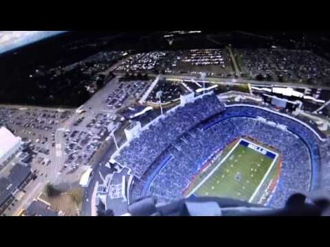 Guy skydives into Ralph Wilson Stadium