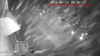 熊本地震【前震】発生の瞬間!!防犯カメラ映像