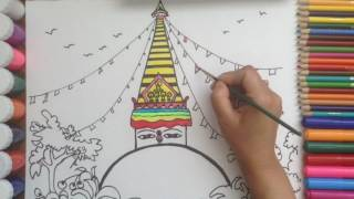 Swayambhunath Drawing and Colouring for children