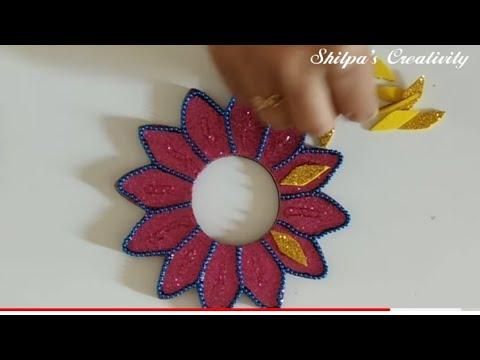 Floating diya decoration from foam sheet youtube for Diya decoration youtube