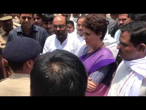 Smt. Priyanka Gandhi Vadra addresses the media after being stopped by the UP Police