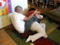 Siblings wrestling