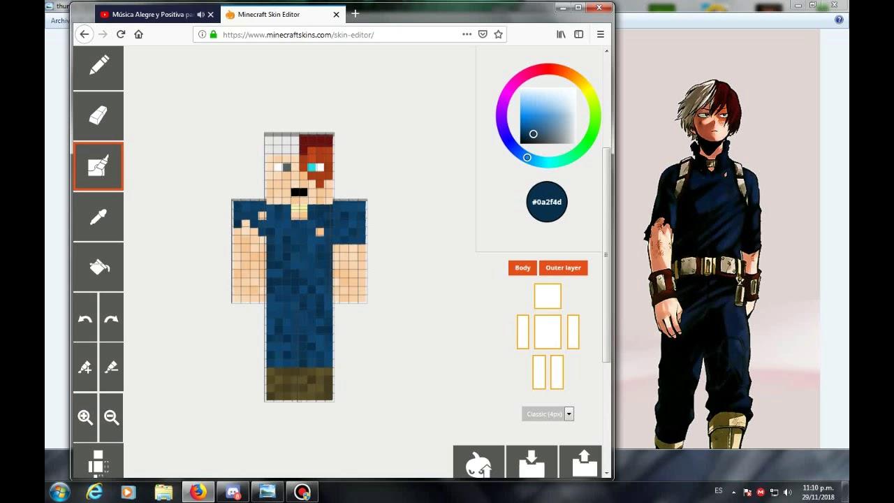 Creando skin de Minecraft de BNHA - Todoroki - YouTube