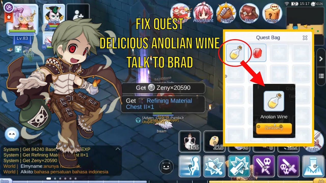 Hair Style Quest Ragnarok Mobile: Completed Quest Delicious Anolian Wine Talk To Brad