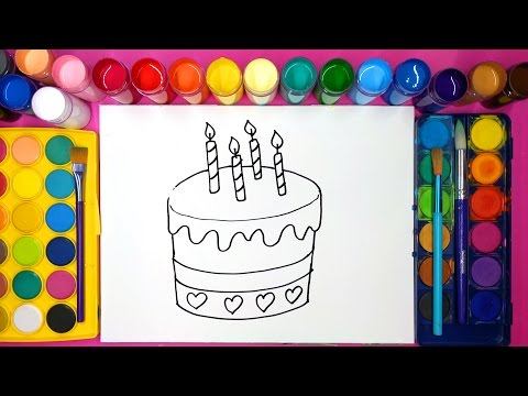 Drawing a birthday cake and coloring with painting for children