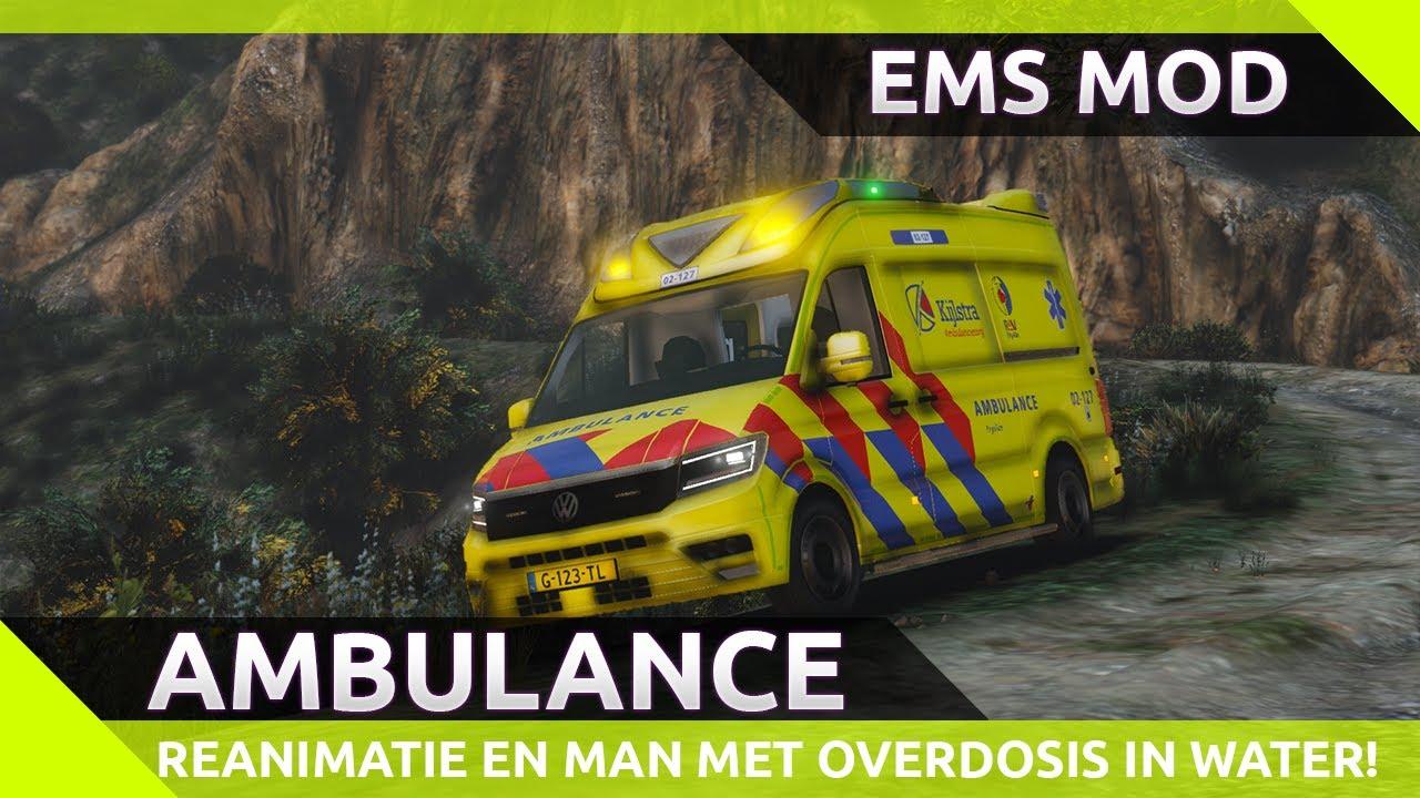 Reanimatie en man met overdosis in zee?! - GTA 5 EMS mod ambulance