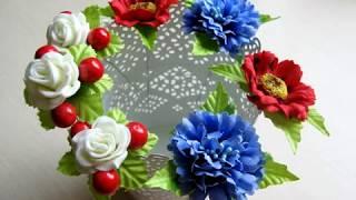 Шпильки и заколки с цветами мак и василек за 15 минут