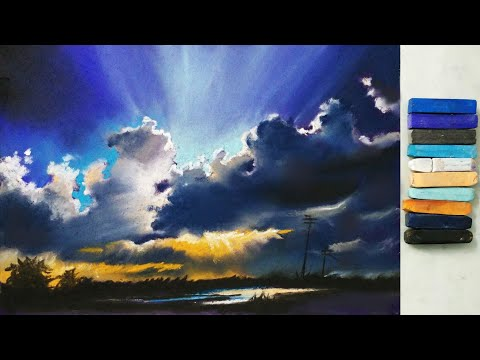 Landscape Drawing For Beginners With Pastels - Scenery Drawing - Soft Pastel Drawing