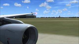 FSX A321 departure from Leipzig/Halle (EDDP)