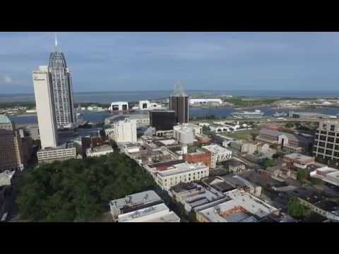 Drone Video of Mobile AL Downtown Skyline 5-14-15