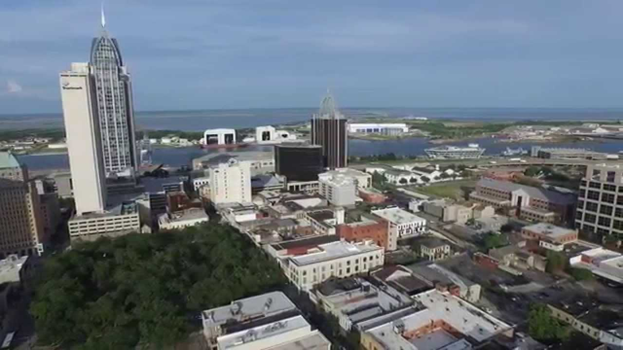 Mobil L Drone Video Of Mobile Al Downtown Skyline 5-14-15 - Youtube