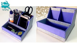 How to make Pen Holder & Mobile Holder with waste material | Diy Desk Organiser