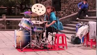 Drummer Girl with GANGNAM STYLE- Psy