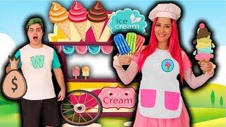 MALOUCOS FINGE BRINCAR DE SORVETERIA COM SORVETES MÁGICOS   Pretend Play Ice Cream Shop