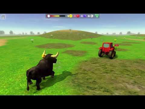 El Tractor escapando del Toro y el Pollito de la Granja