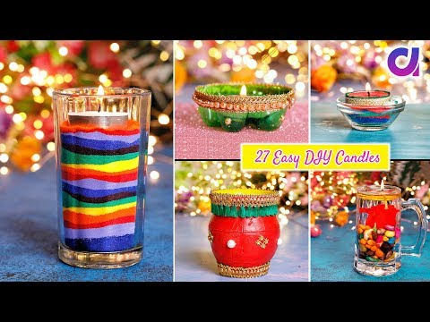 27 Easy and Beautiful DIY Candles for Diwali | Room Decor | Artkala