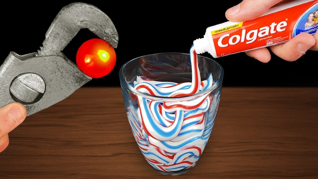 experiment-glowing-1000-degree-metal-ball-vs-toothpaste
