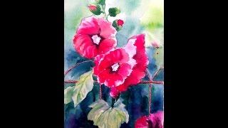 Мальвы, рисование акварелью, цветы