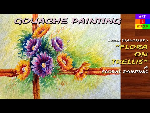 33: Flowers-2 | Gouache Painting | Tutorial Lessons Demo | beginners | Techniques
