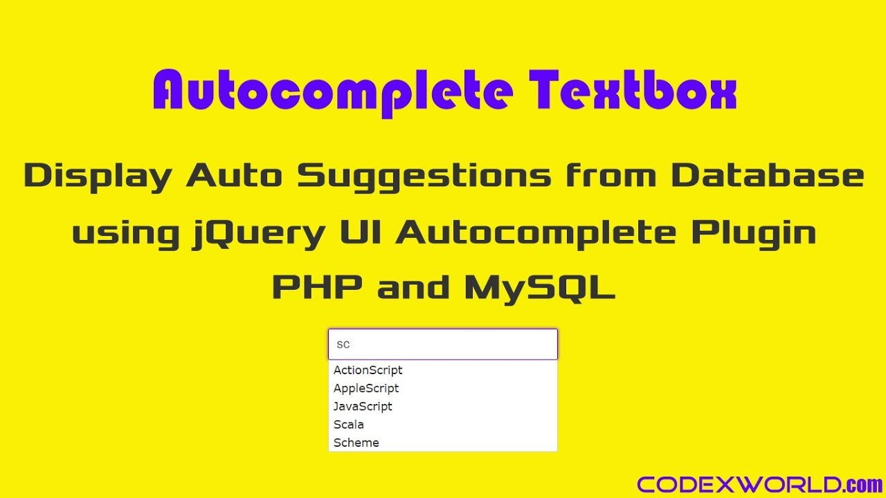 Autocomplete Textbox using jQuery, PHP and MySQL - CodexWorld