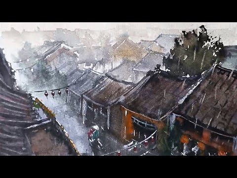 Beautiful Watercolor Painting – Chinese town on a rainy day landscape demo