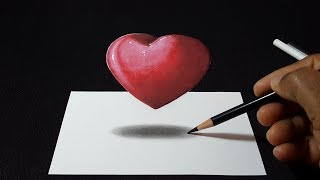 How to Draw a 3D Floating Red Heart | Easy Trick Art