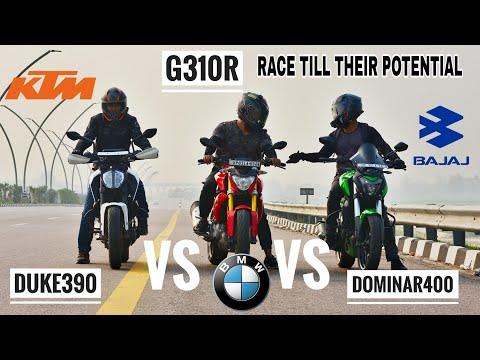 DUKE 390 VS BMW G310R VS DOMINAR 400   RACE TILL THEIR POTENTIAL   TOP SPEED   SHOCKING RESULTS
