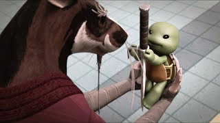 Video in Russian. Battle with kraang droid when Raphael cracked his...