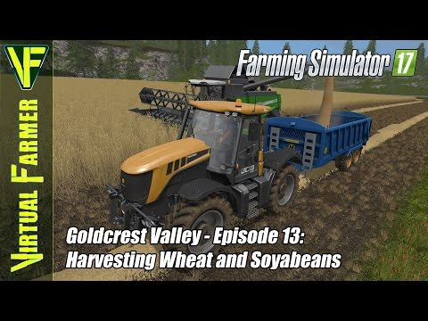 Let's Play Farming Simulator 17 - Gold Crest Valley Episode 13: Harvesting Wheat and Soyabeans