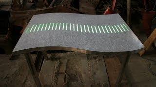 Terrazzo and  concrete LED RGB lighting art