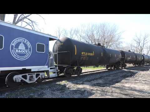 CSX GP15T 1500 Leads the B&OCT Heritage Caboose & 3 Cars of Hazardous Material, Burnham IL