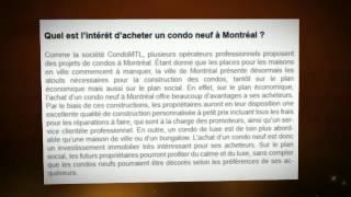 Condos neufs à vendre Montréal