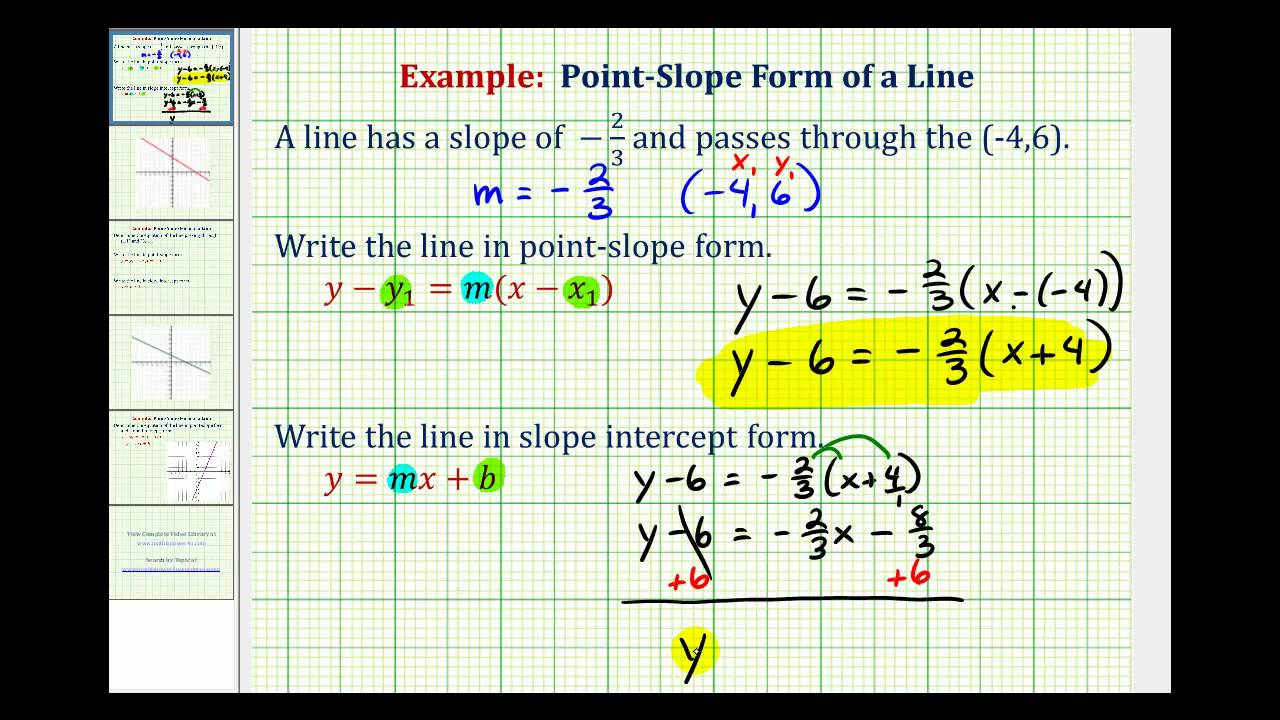 point slope form ex  Ex: Find the Equation of a Line in Point Slope and Slope Intercept Form  Given the Slope and a Point