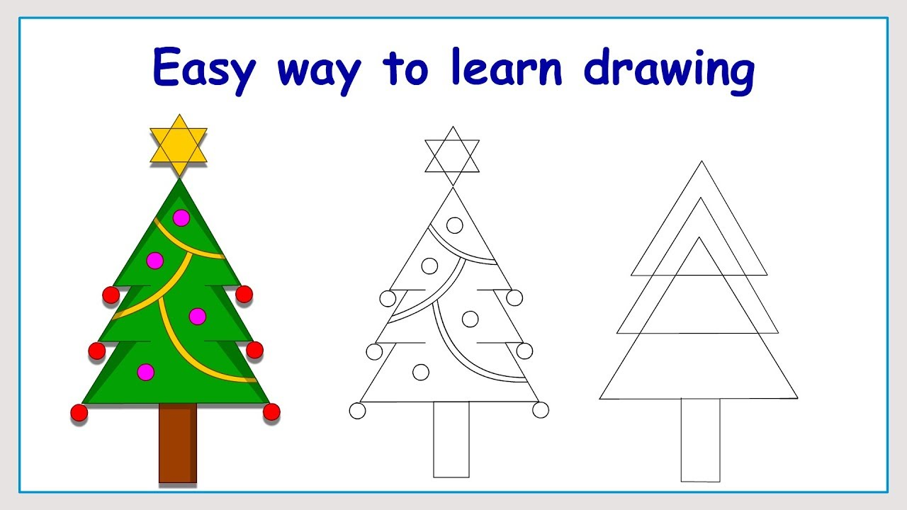 Uncategorized How To Draw Christmas Tree Step By Step learn how to draw christmas tree in a simple way youtube way
