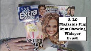 ASMR Jennifer Lopez Magazine Flip Through. Whisper, Gum, Brush. 41 min video