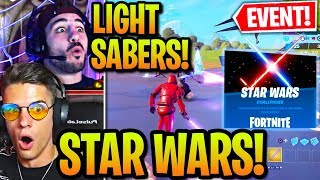 "STREAMERS REACT TO ""STAR WARS"" *IN-GAME EVENT* & USE LIGHT SABERS in Fortnite!"