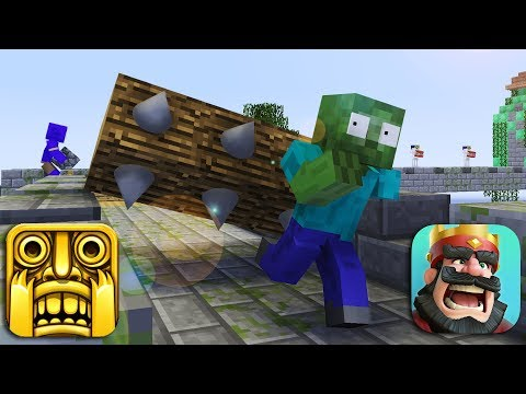 Monster School : TEMPLE RUN vs CLASH ROYALE CHALLENGE - Minecraft animation